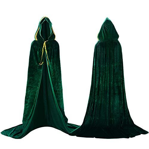 Proumhang Grün Umhang mit Kapuze Samt Erwachsener Halloween Kostüme Vampir Umhang Todesser Kostüm Maleficent Kostüm Hexen Umhang Damen (Erwachsenen Todesser Kostüme)