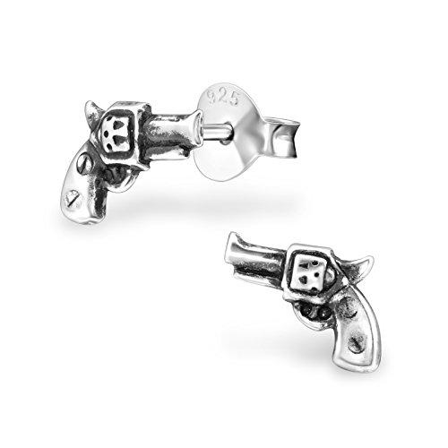 Tata Gisele© Ohrringe Sterling Silber 925/000Antik-Pistole Revolver-8mm