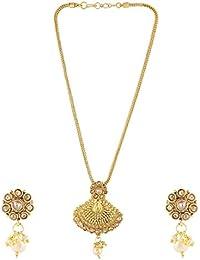 Anuradha Art Golden Colour Designer Wonderful Studded Shimmering Stone Traditional Pendant Ser Necklace For Women...