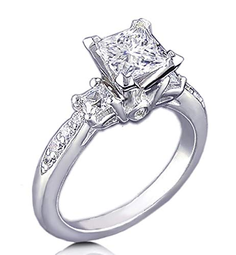 RussianHeartsDiamonds.com Venetia Ring 925 Silber platiniert Pavé-Fassung Art Deco Decor 19,5 - Engagement Tiffany Diamant-ring