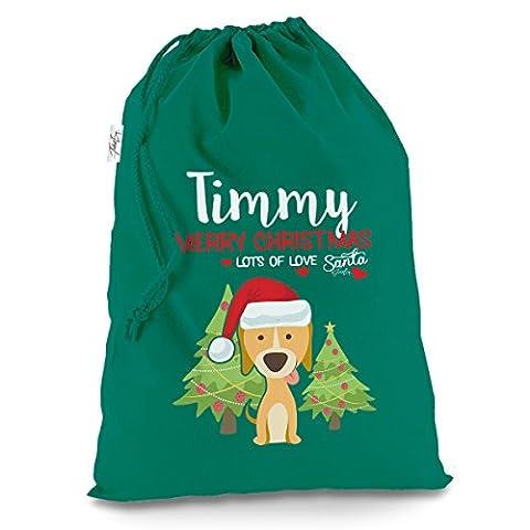 Weihnachten Hund mit Bäume personalisierbar X-Large Grün Weihnachten Santa Sack