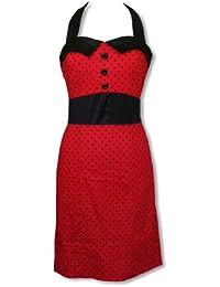 Rockabilly vestido con falda lápiz rojo-negro XL / 40-42