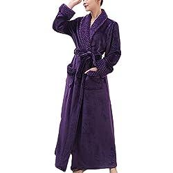 Adulte Unisexe Peignoir de Luxe en Microfibre Manteau Robes avec Ceinture Pyjama Violet Femme XL