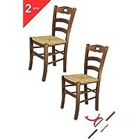 Tommychairs sedie di design - Set 2 sedie modello SAVOIE per cucina e sala da pranzo, dallo stile classico, con robusta struttura in legno color noce e con seduta in paglia