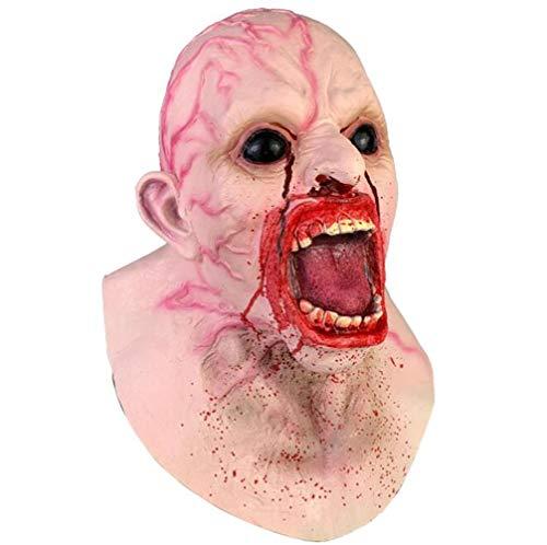 3D-Halloween-Effekt-Gesichtsmaske, Kopf und Hals aus Dracula-Latex, Kopfbedeckung mit Zombie-Horror-Kopfbedeckung, gruselige Requisiten Kostümparty