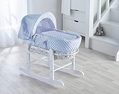 Blue Dimple White Wicker Moses Basket & Deluxe White Rocking Stand
