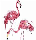 DIY-Malen nach Zahlen für Erwachsene, Anfänger, 16x 20cm, Flamingo, mit Pinsel, Weihnachten, Dekorationen, Geschenke Frame