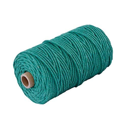 Hacoly Baumwollschnur Natürliche Makramee Schnur Baumwollgarn Baumwollseil Makramee Baumwollkordel Handgefertigt DIY Dekoratives 100% naturliches Baumwolle(Grün) - Baumwollgarn Größe 3
