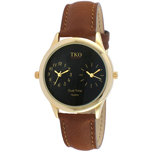 tko-dual-time-zone-gold-watch-cinturino-in-pelle-marrone-per-world-traveler-o-flight-attendant-tk657