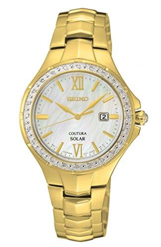 Seiko Damen Analog Solar Uhr mit Edelstahl Armband SUT242P9