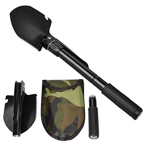 Oupeng Pala de artiller/ía de Pala de Hierro con Pala de Bola de Pala Pala de Nieve port/átil para Coche (Negro)
