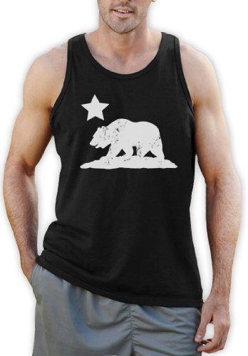 Green Turtle T-Shirts CALIFORNIA REPUBLIC BEAR Schwarz Large Tank Top -