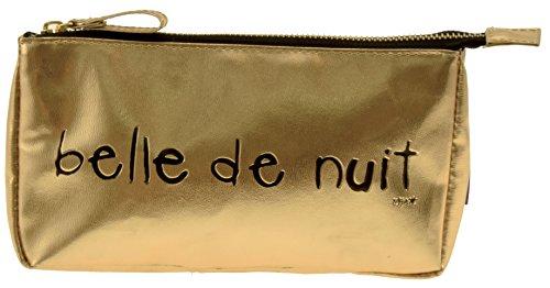 Incidence Paris 61592 Trousse à maquillage Belle de nuit Doré et noir Façon cuir Fermeture zip, 20 cm Doré