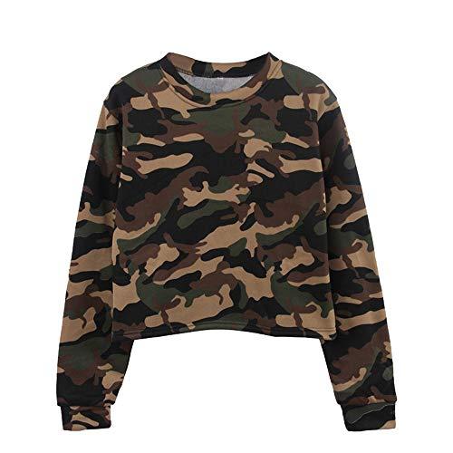 Oliviavan,Damen Langarm Camouflage Patchwork O Hals Sweatshirt beiläufige Bluse Damen Top T - Shirt Bluse Longshirt Tunika Tanktop Oberteil Gestreift Crop Top Kurzarm Streifen Shirt