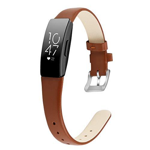 WAOTIER für Fitbit Inspire HR Armband Leder Armband Kompatibel für Fitbit Inspire Armband und für Fitbit Inspire HR mit Edelstahl Verschluss Glättender Weicher Leder Armband Retro Armband (Braun)
