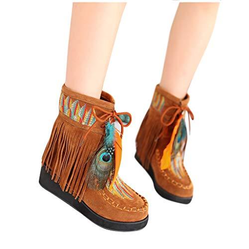Posional Botas Mujer Invierno Tacon Forrado Calentar Altas Botines Moda Casual Outdoor Zapatos de Nieve Snow Boots 6 cm gamuza para mujer bordadas invierno con flecos largos moda
