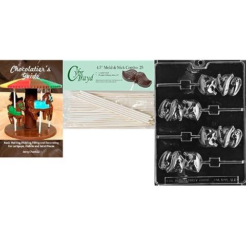 Cybrtrayd 'Chick con cappello Lolly'Stampini pasquali di cioccolato, 25 cm, 4,5-Bastoncini per lecca-lecca e Chocolatier s Guide - Cappello Chocolate Mold