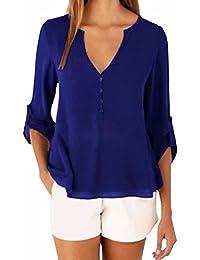 ZANZEA Camiseta Blusa Casual Elegante Oficina Chiffón Cuello Fisura V Mangas Largas para Mujer