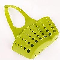 Cesta de almacenamiento colgante, estante de plástico para fregadero organizador de cocina, baño Tamaño libre verde