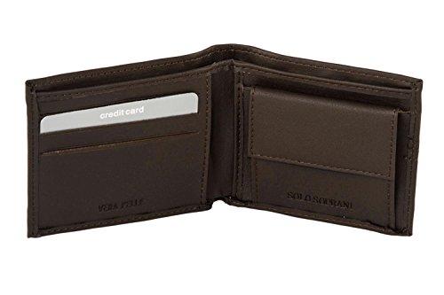 Mini portafoglio uomo SOLO SOPRANI moro in vera pelle con portamonete A4497