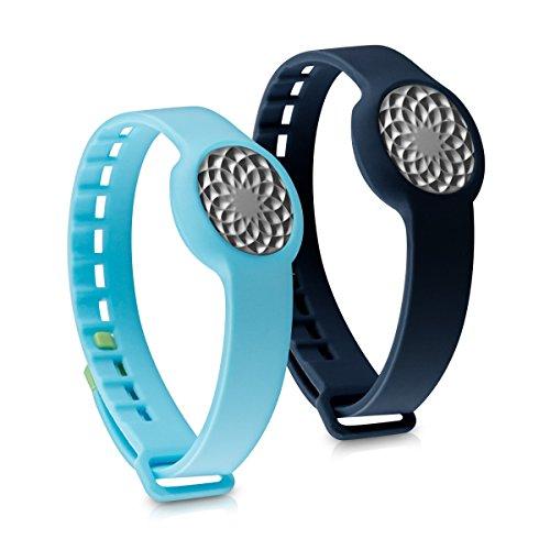 2in1 Set: Armband für Jawbone UP Move - kwmobile 2x Silikon Sport Ersatzarmband mit Verschluss ohne Fitness Tracker Dunkelblau Hellblau - Innenmaße: ca. 15,5 - 23 cm