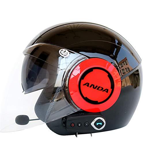 Shfmx Casco Teenager Bluetooth per Motociclisti, Casco da Motociclista con Visiera Aperta, Musica 80 Ore/a Mani libere/Senza Rumore/Multifunzione, Casco da Viaggio / fuoristrada58-62CM