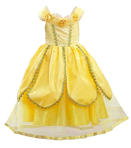 About Time Co Girls' Princess Belle 6 Layers Fancy Dress (4-5 years)