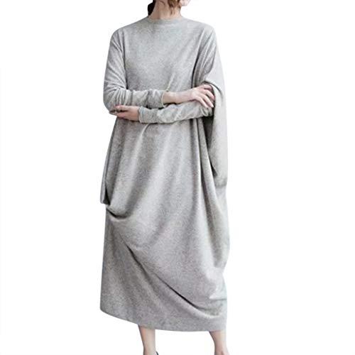 TEBAISE Damen Unregelmäßige Strick Oversize Langarm Pullikleid Longshirt -