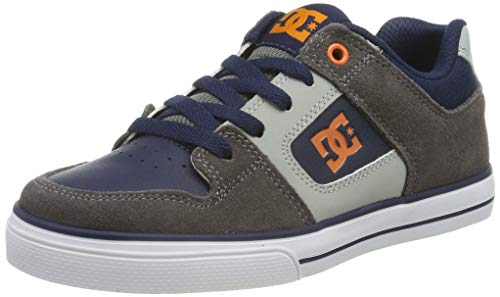 DC Shoes DCSHI Pure-Shoes for Boys, Zapatillas de Skateboard para Niños, Grey/Dark Navy, 30 EU
