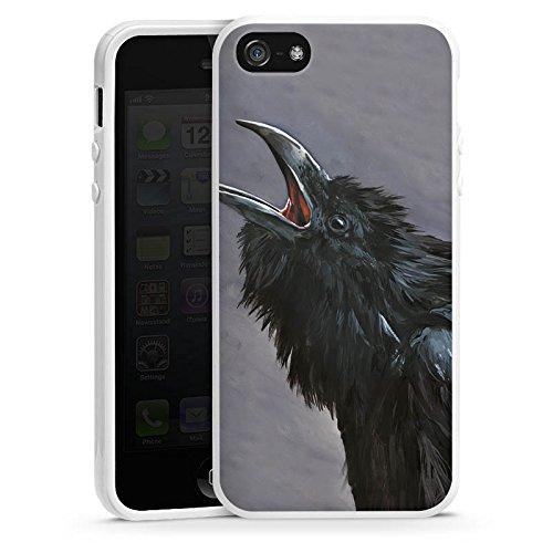 Apple iPhone 5s Housse Étui Protection Coque Oiseau Corbeaux Housse en silicone blanc