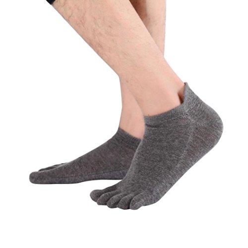 Socken herren Kolylong 1 Paar Männer Socken Baumwollmischung Non Slip Massage Sport Zehensocken (Freie Größe) (Dunkelgrau) (Warm-up-hose Babys)