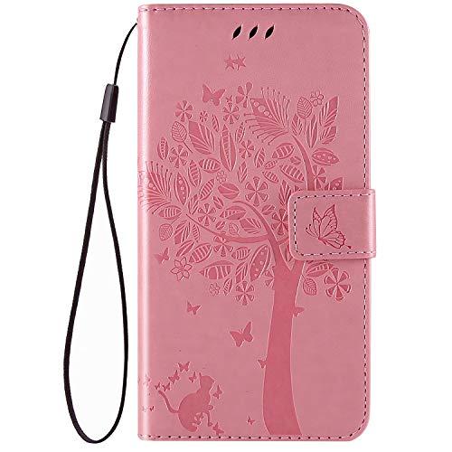 QPOLLY Kompatibel für Google Pixel 3A Hülle Leder Tasche Flip Case Katze und Baum Muster Handytasche Magnet Schutzhülle im Brieftasche-Stil mit Kartenfächer Standfunktion,Pink