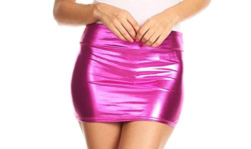 Women's Shiny Metallic Liquid Wet Look Mini Skirt in 4 Colours - up to XL