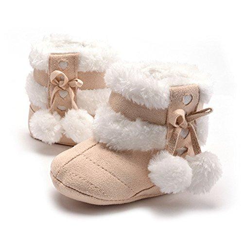 Baby-Schnee-Stiefel warme Winter-Kind-Schuh Prewalker (M: 6 ~ 12 Monate, Beige)