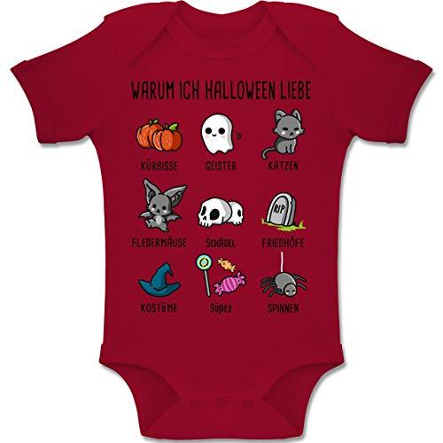 Shirtracer Anlässe Baby - Warum ich Halloween Liebe - 1-3 Monate - Rot - BZ10 - Baby Body Kurzarm Jungen Mädchen