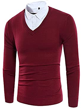 Dos Séries de Hipster Otoño Pull Sweater Men 's Sweater, Rojo (Red Wine), extra-large
