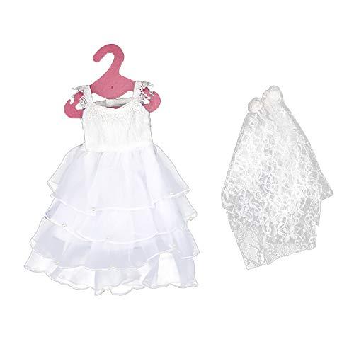 Baoblaze Weiß Hochzeitskleid Brautkleid Abendkleid Ballkleid Kleid Kleidung mit Brautschleier für...