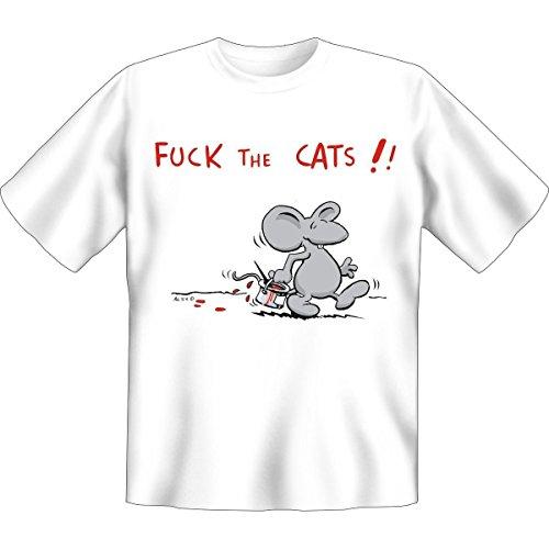Fuck the Cats -- Funshirt für den Tierfreund mit Humor!! -- Farbe: weiß, Grösse: S
