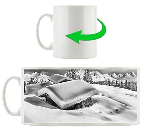 Monocrome, cabanes de montagne enneigée dans les Alpes, Motif tasse en blanc 300ml céramique, Grande idée de cadeau pour toute occasion. Votre nouvelle tasse préférée pour le café, le thé et des boissons chaudes