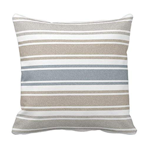 CindyCustom Stripes Thin Speckled Coastal Blue Wide Decorative Pillow Case Home Decor Square 18 x 18 Inch/45cm x 45cm -