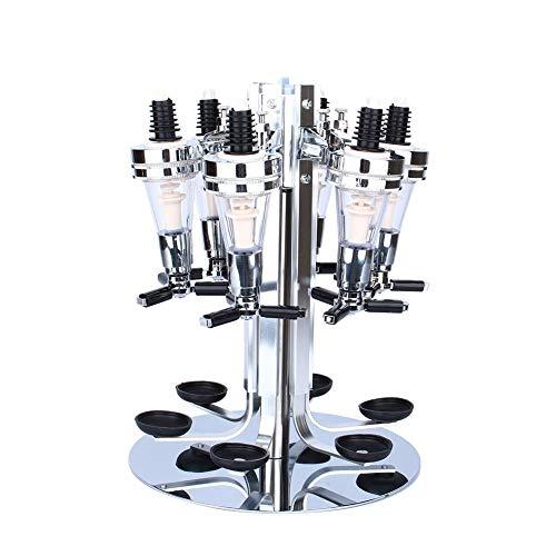 Botellero giratorio de pared con soporte para 6 botellas, dispensador de agua óptico, tubo de vino, para colgar en la pared, 24 x 24 x 54 cm