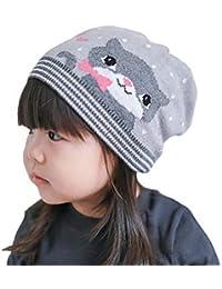 2112c8890758 YiyiLai Enfant Bonnet Coton Motif avec Chat Uni Chapeau Fille Casquette pour  Hiver