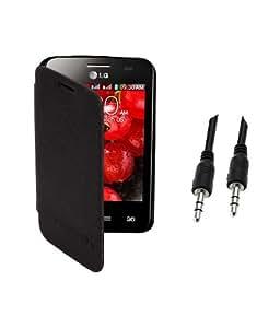 KolorEdge Flip Cover Plus 3.5mm Auxiliary Cable For LG Optimus E435 -black