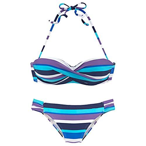 BURFLY frauen Tube Top Halter Farbe Nähen Streifen Print Split Bikini Sexy Strandbadebekleidung Bademode Set