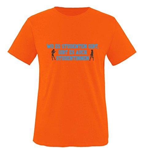 Comedy Shirts - Wo es Studenten gibt, gibt es auch Studentinnen. - Herren T-Shirt - Orange/Blau-Braun Gr. XL