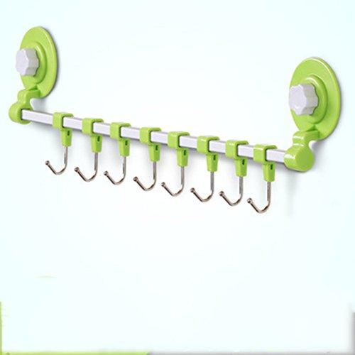 ASL Row Hook Strong Nahtlose Saugnäpfe Kleber Türhänger Wandhaken Load-Lager Küche Kreativ Nagelfreie Haken Qualität ( Farbe : Grün , größe : M ) - Medium Saugnapf Haken