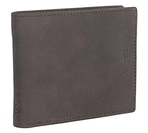 BUGATTI Echtleder Herren Portemonnaie im Querformat, Hochwertige Brieftasche mit Klappfach aus echtem Leder (Dunkelbraun)