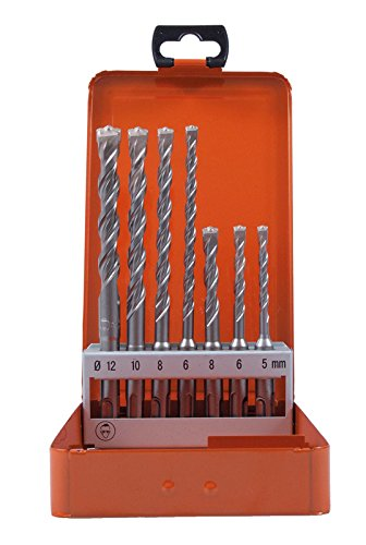 Projahn 83300 Hammerbohrer Rocket 3 PLUS Set 7-tlg. , Beton Bohrer Set, robusten Crushern, Schaufeleffekt , punktgenaues Anbohren; 4-spiralige Bohrkörper Geometrie; Reduzierte Vibration , SDS-Plus (4 3 Sds-bohrer)