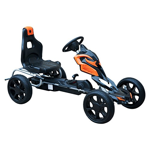 HOMCOM Go Kart Racing Sports Pedal Car for Children from 3-12 Years with Adjustable Seat Clutch and Brake Rubber Wheels 122x60x70cm Black and Orange