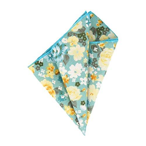 Baumwolle Floral Jeans (Mr Icone Einstecktuch Taschentuch Hellblau Gelb Floral)